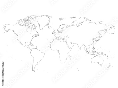High detailed outline of world map simple thin black vector stroke high detailed outline of world map simple thin black vector stroke on white background gumiabroncs Image collections