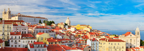 Lisbon cityscape, view of the Alfama downtown Wallpaper Mural