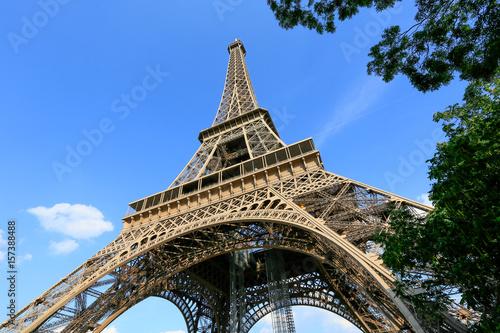 Fototapeta Eiffel Tower with blue sky, Paris France obraz na płótnie