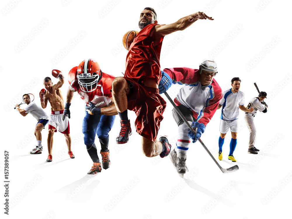 Fototapety, obrazy: Sport collage boxing soccer american football basketball baseball ice hockey etc