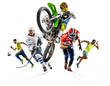 Huge multi sports collage soccer athletics football hockey motocross