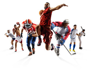 Fototapeta na wymiar Sport collage boxing soccer american football basketball baseball ice hockey etc