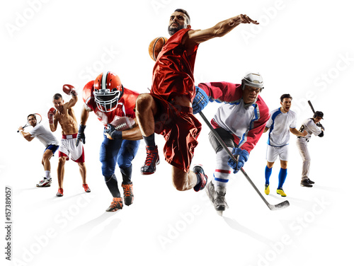 Sport collage boxing soccer american football basketball baseball ice hockey etc - 157389057