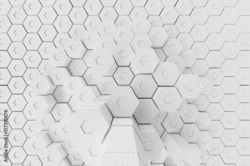 Fototapety, obrazy: White geometric hexagonal abstract background, 3d rendering