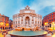 Rome Trevi Fountain Or Fontana...