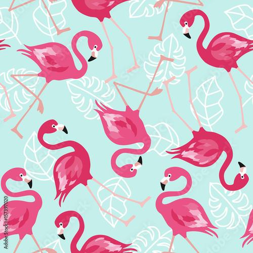 flamingo-bezszwowy-wzor-na-mennicy-zieleni-tle-rozowego-flaminga-tla-wektorowy-projekt-dla-tkaniny-i-wystroju-wektorowa-modna-ilustracja