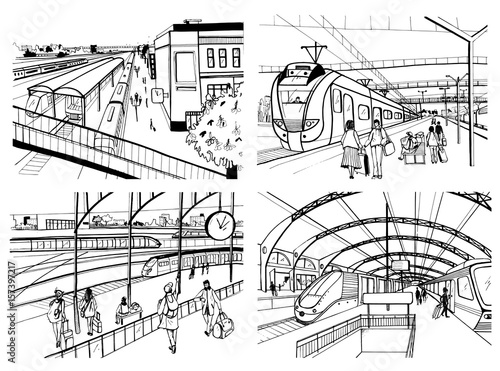 Fotobehang Art Studio Set of sketches with railway station. Passengers on platform, waiting, arriving and departing train. Hand drawn black and white vector illustration.