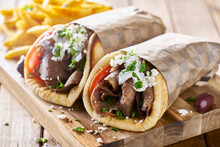 Greek Lamb Meat Gyros With Tza...