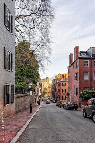 Fotografie, Obraz  Road at Beacon Hill neighborhood downtown Boston in MA