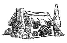 Farm Cottage House Retro Grunge Hand Drawn Style