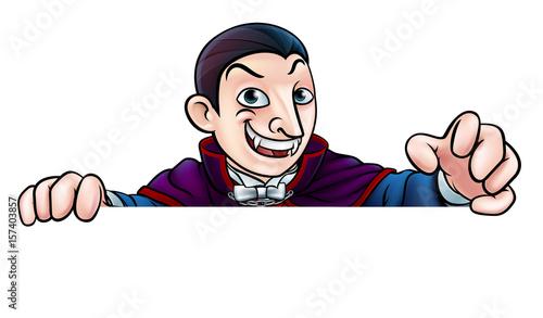 Fotografie, Obraz  Cartoon Halloween Vampire Peeking Over Sign