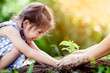 Leinwanddruck Bild - Asian little girl and parent planting young tree on black soil together as save world concept in vintage color tone