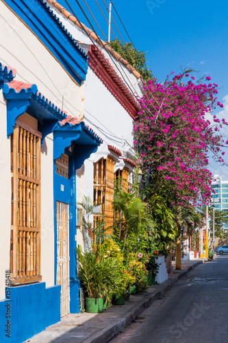 Photo Stands South America Country Colorful streets of Getsemani aera of Cartagena de los indias Bolivar in Colombia South America