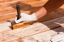 Deck Maintenance Apply Stain O...