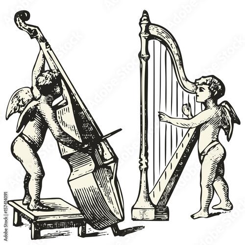 Fotografia, Obraz Two musicians angels