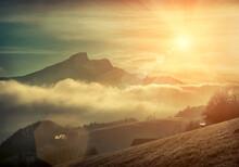 Beautiful Mountains View At Morning. Sunrise In Austrian Mountai