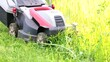 Treating lawn from excess grass using electric lawnmower