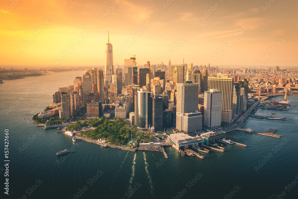 Fototapety, obrazy: Aerial Views of the Downtown Manhattan Skyline