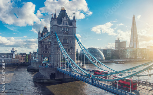 Poster London tower bridge with city of london