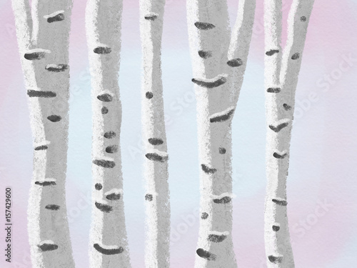 Canvas Prints Birds in the forest Colorful hand drawn bright spring trees as birch trees on texture watercolor pink and blue background, cartoon floral illustration painted by pastel, watercolor and pencil chalk, high quality