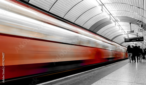Fast moving subway train in London