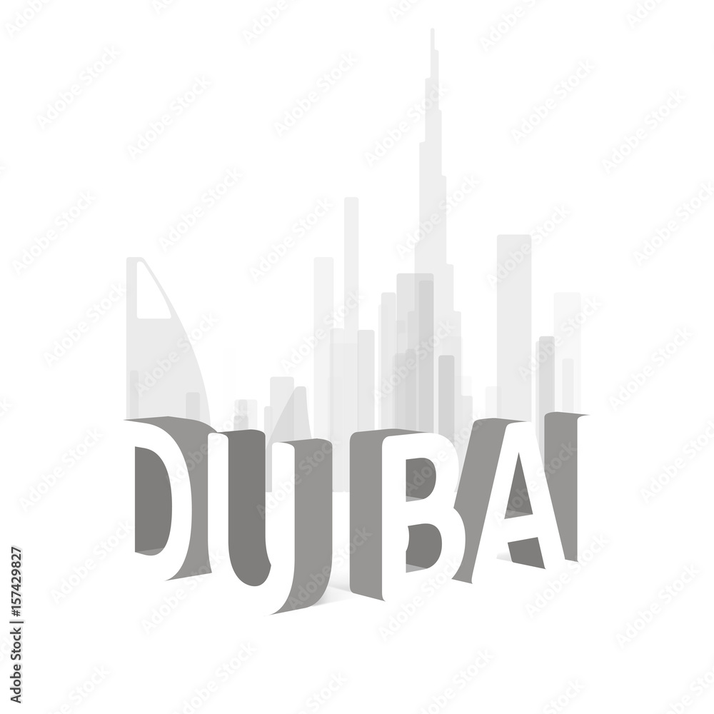 Photo & Art Print Dubai skyline illustration | EuroPosters