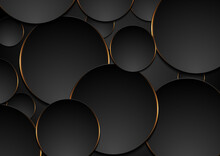 Black And Orange Circles Abstract Tech Background
