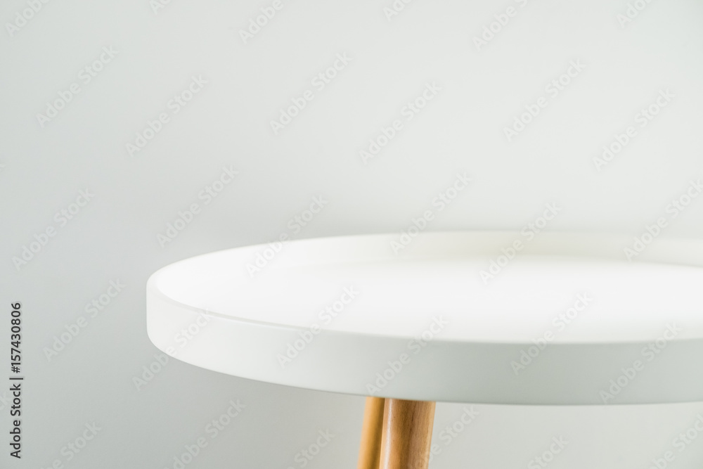 Fototapety, obrazy: Empty modern round white table top at white house wall,Mock up space for display or montage of product
