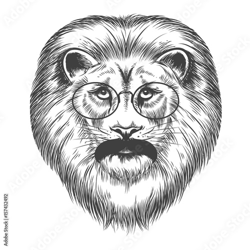 Poster Croquis dessinés à la main des animaux Hipster lion isolated on white background, vector illustration. Lion with mustache and eyeglasses