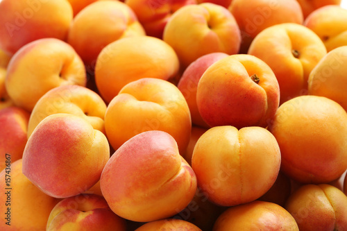 Fotografie, Tablou Ripe apricots fruit background