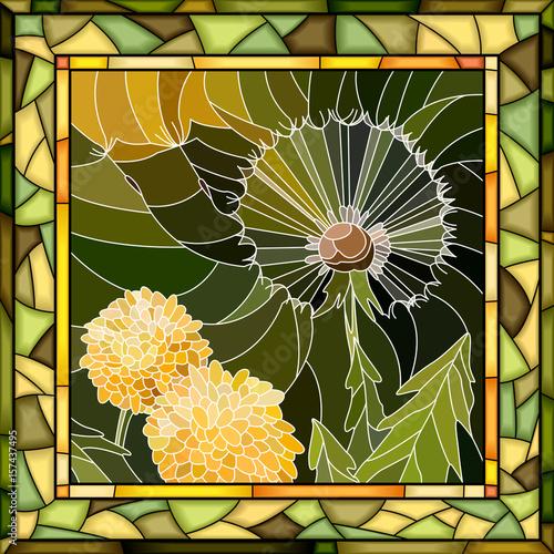 wektorowa-mozaiki-ilustracja-kwiatu-dandelion