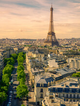 Paris Cityscape With Eiffel Tower In Twilight. View Of Eiffel Tower From Are De Triomphe