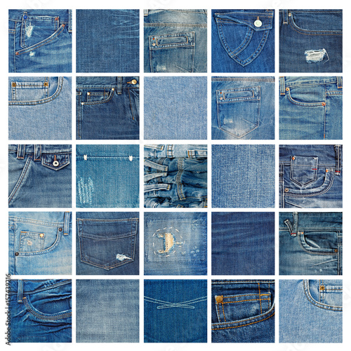 Fotomural  Different denim fabric samples isolated on white background
