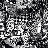 Fototapeta Młodzieżowe - Black and white seamless pattern graffiti, sticker bombing