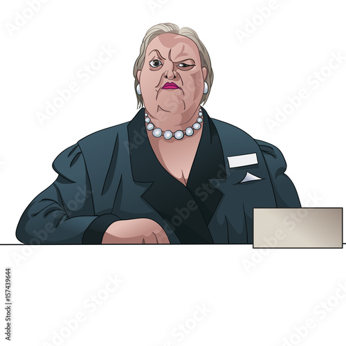 Photo  Gloomy lady registrar or inspector behind the counter
