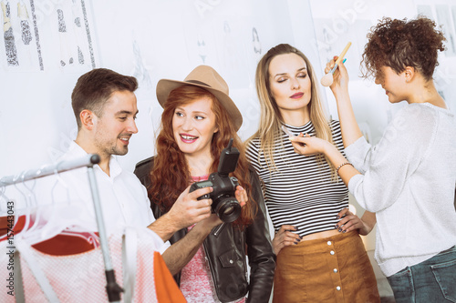 Photographer, models and make up artist Canvas Print