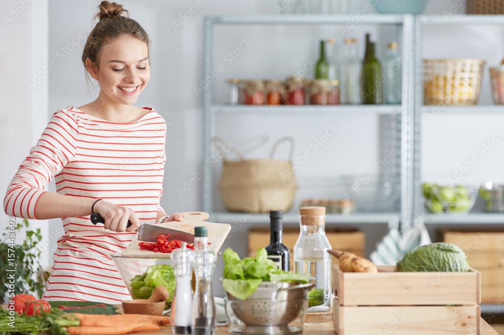 Fototapety, obrazy: Woman preparing vegetarian meal