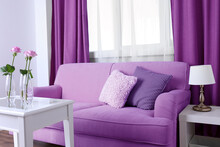 Sofa With Beautiful Pillows And Focused Vase With Flowers On The Table In Front Of It In The Room