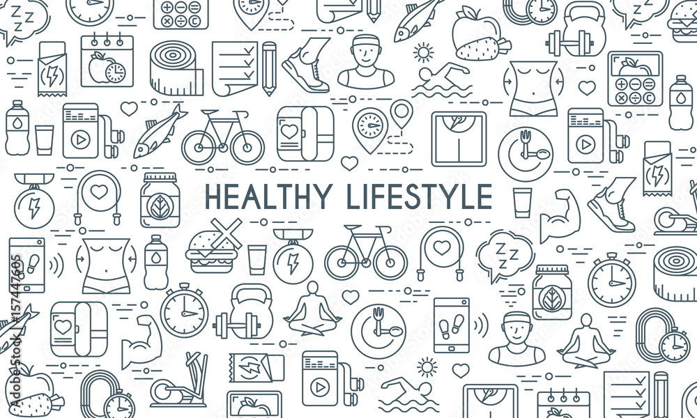 Fototapety, obrazy: Healthy lifestyle banner. Design template with thin line icons on theme fitness, nutrition and dieting. Vector illustration