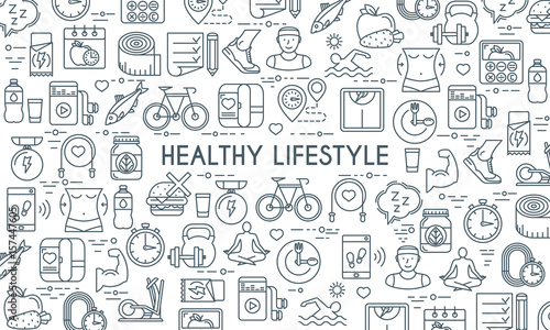 Fotomural  Healthy lifestyle banner