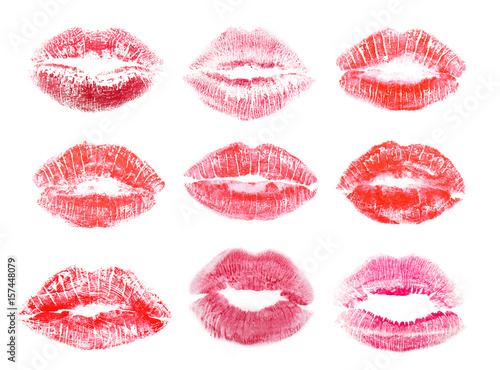 Fototapeta  Different lipstick prints of women lips on white background
