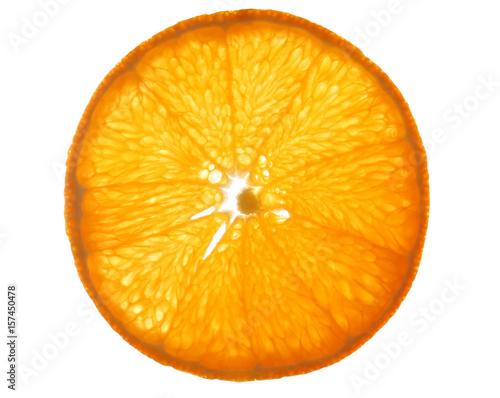 Slice of delicious citrus fruit on white background