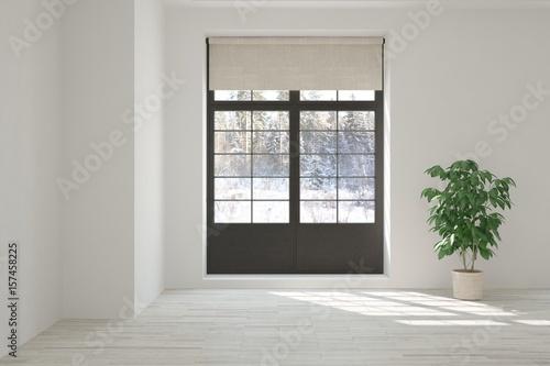 Fototapeta White empty room with winter landscape in window. Scandinavian interior design. 3D illustration obraz na płótnie