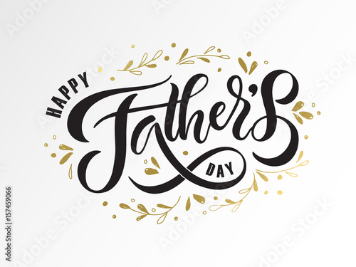 Happy Fathers Day lettering typography for postcard/card ...