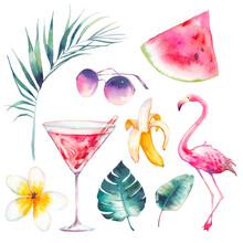 Watercolor Summer Set. Hand Dr...