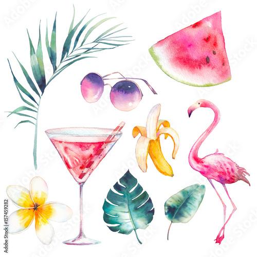 zestaw-lato-akwarela-recznie-rysowane-ikony-wakacje-flamingo-koktajl-plasterek