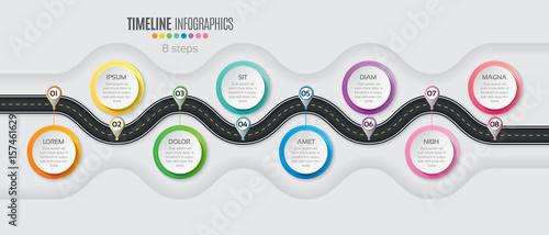 Obraz Navigation map infographic 8 steps timeline concept. Winding roa - fototapety do salonu