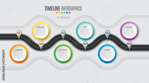 Photographie  Navigation map infographic 6 steps timeline concept. Winding roa
