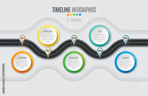 Photo  Navigation map infographic 5 steps timeline concept. Winding roa