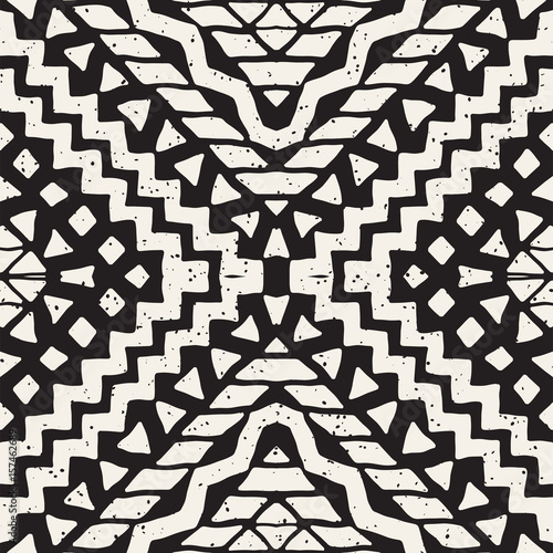 Cotton fabric Hand drawn painted seamless pattern. Vector tribal design background. Ethnic motif. Geometric ethnic stripe lines illustration. For art prints, textile, wallpaper, wrapping paper.